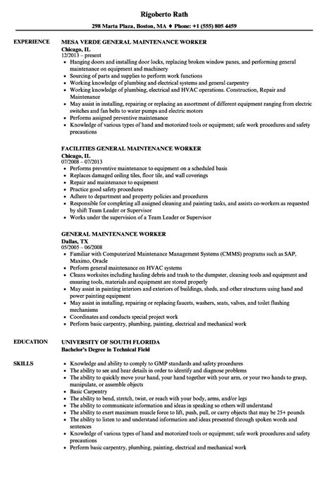 Maintenance Worker Resume by General Maintenance Worker Resume Sles Velvet
