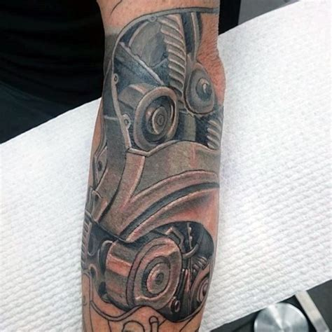engine parts tattoo designs new school style colored forearm of engine parts