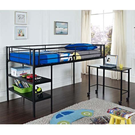 twin metal loft bed with desk walker edison metal twin low loft bed with desk and