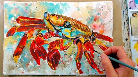 play painting free crab in watercolor free painting class