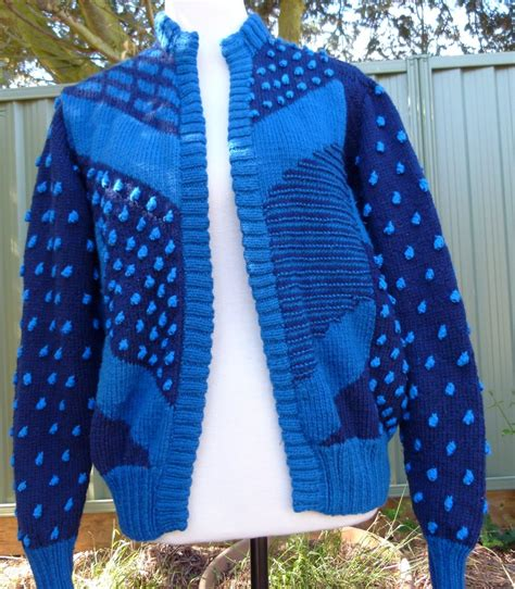 knit sweater pattern software 1980 s hand knitted sweater blues abstract design by