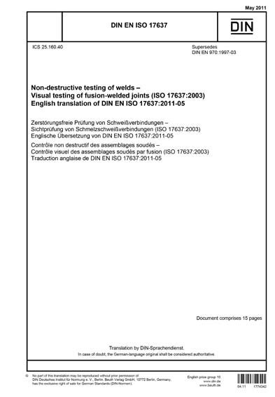 DIN EN ISO 17637:2011 - Non-destructive testing of welds