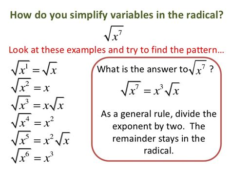 variables in pattern rules radical and exponents 2