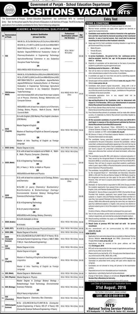 test pattern of nts for educators in punjab punjab arts educator jobs 2018 teacher jobs in punjab all