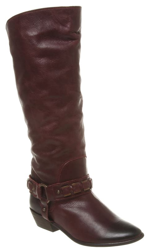 burgundy leather boots womens office chained up burgundy leather boots ex display
