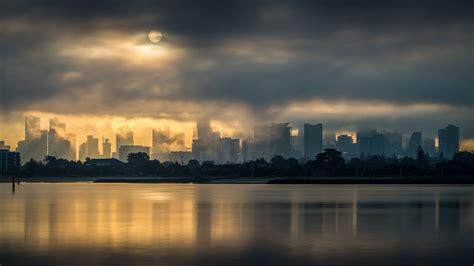 photography landscape cityscape lake clouds sun