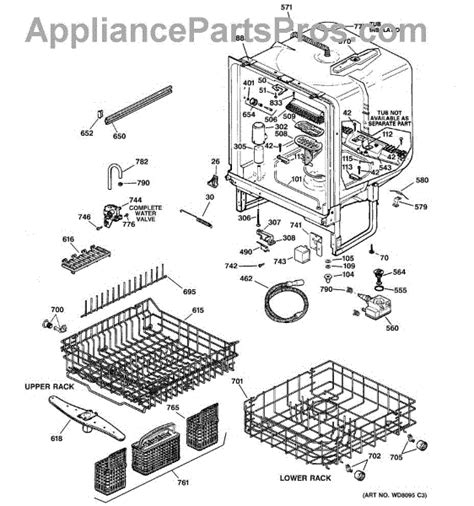 ge dishwasher parts diagram ge wd12x271 lower dishrack roller kit appliancepartspros