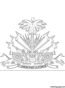 haiti coat of arms coloring page coloring pages