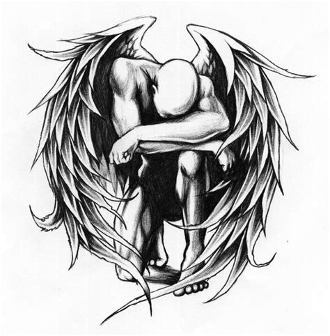 angel tattoo design by daniellehope fallen wings designs more from majambazi