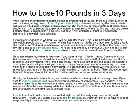 How To Shed Pounds Quickly by How To Lose 10 Pounds In 3 Days