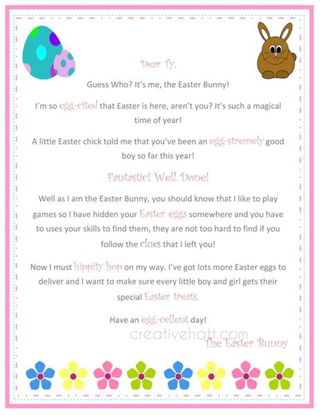 free printable letters easter bunny letter from the easter bunny free printable everything