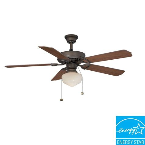 Hton Bay Trimount 52 Oil Rubbed Bronze Energy Star Energy Ceiling Fan With Light