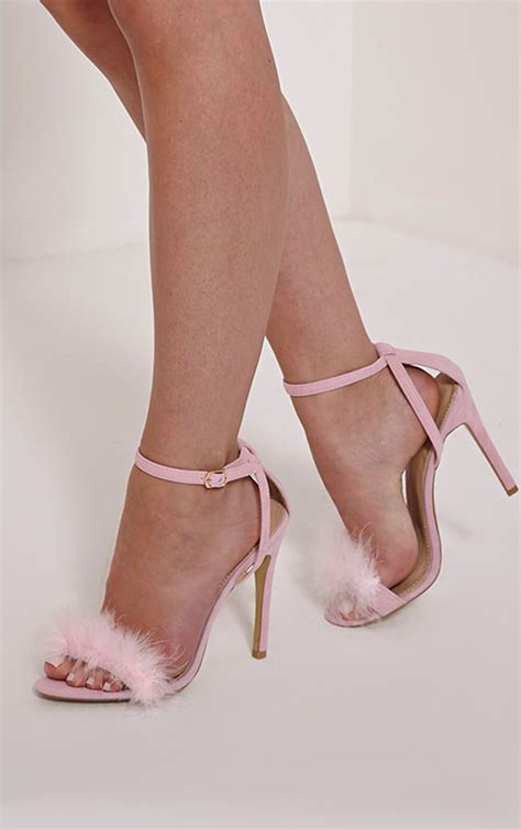 High Heels Pink B baby pink faux suede fluffy heels high heels