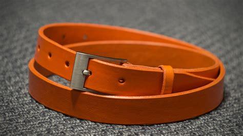 orange handmade leather belt by frf leather goods on