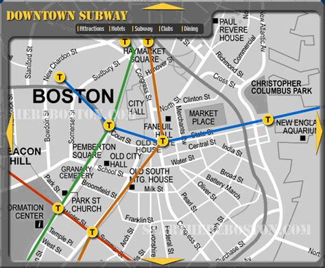 boston map with t stops the new