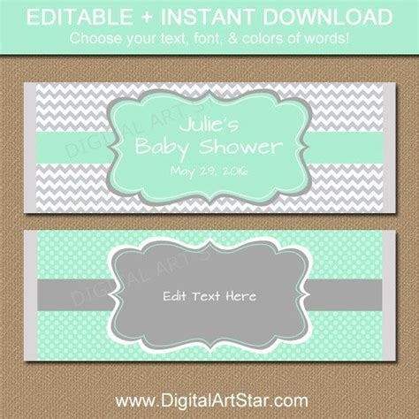 printable baby shower wrappers editable mint