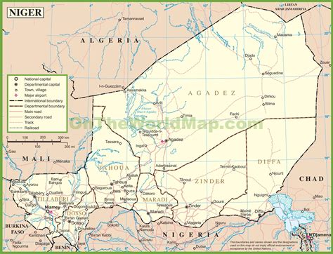 political map of niger political map of niger nations project map of