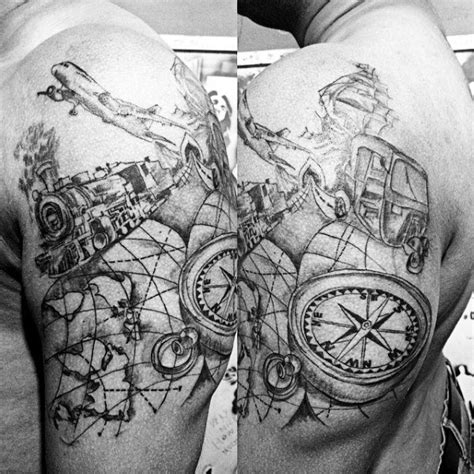 75 travel tattoos for men adventure design ideas