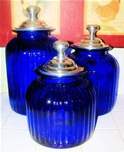 cobalt blue kitchen canisters cobalt blue kitchen canister set glass blown ebay
