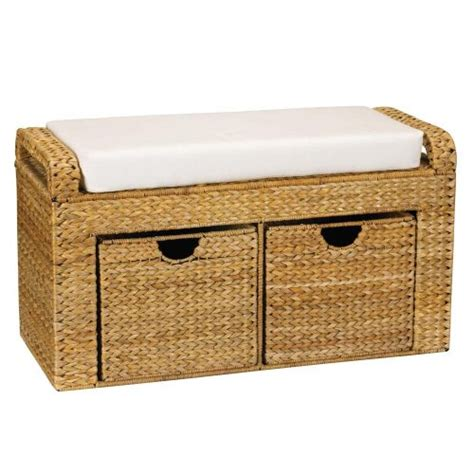 cushioned bench seating new window chair storage drawer bench woven banana leaf padded cushioned seat ebay
