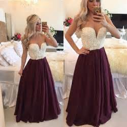 burgundy prom dress 2017 with pearls long plus size
