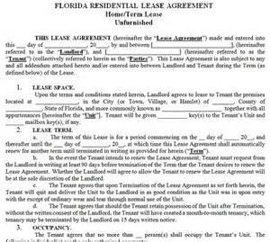 florida residential tenancy lease agreement florida rental