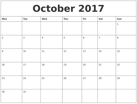 Calendar 2017 Pdf October October 2017 Calendar