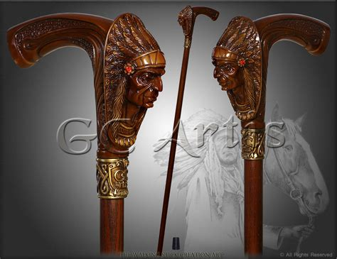 Handcrafted Walking Canes - indian cheif luxury designers walking stick hiking