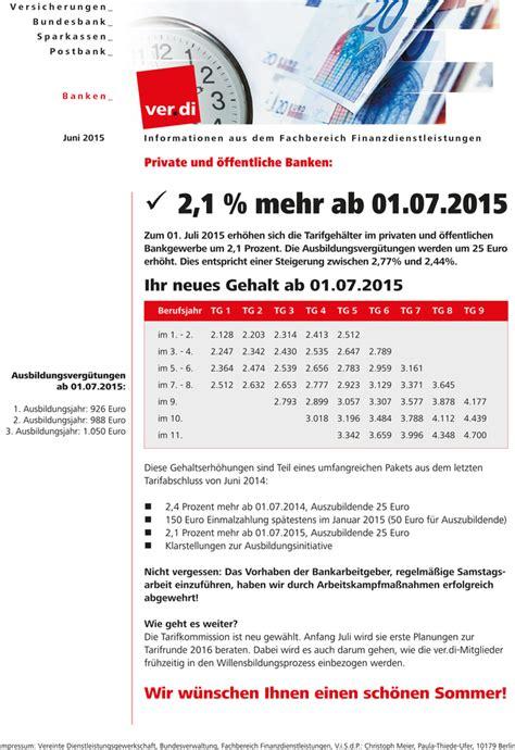 tarifabschluss banken ver di und 246 ffentliche banken 2 1 mehr ab 01