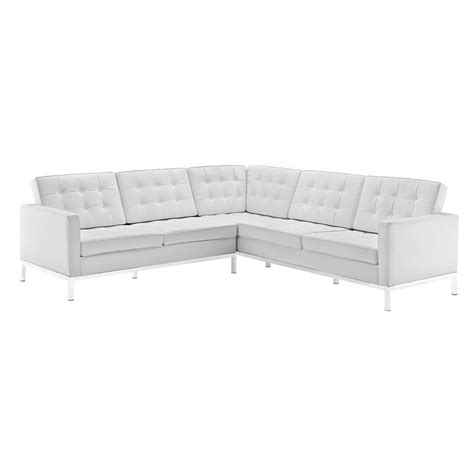 Bateman Leather L Shaped Sectional Sofa Modern Furniture White Leather L Shaped Sofa