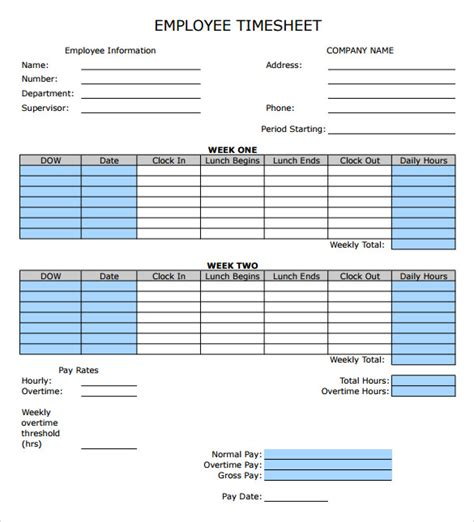 9 Sle Employee Timesheet Calculator Templates Sle Templates Free Timesheet Template Excel