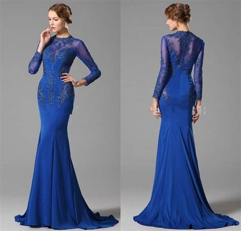 dress design royal blue latest evening gown designs long sleeve evening dress 2015