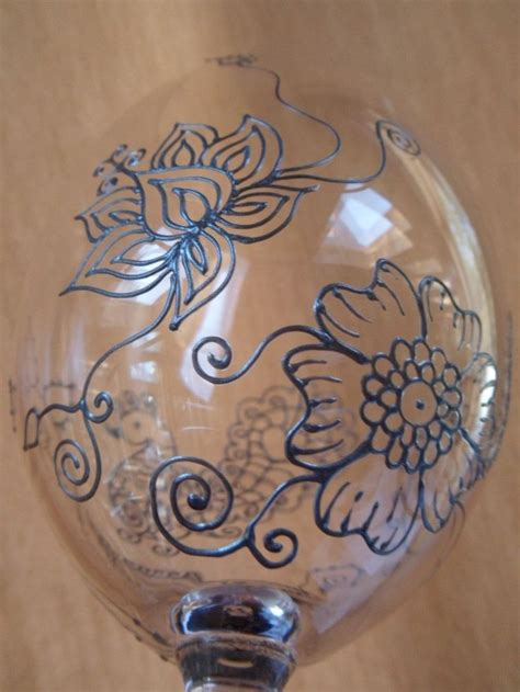 henna design on glass lotus mehndi designs wine glasses 2 custom