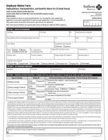 anthem blue cross small group health insurance waiver form