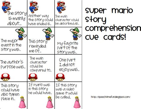 cue cards speech for pd template mario comprehension cue cards