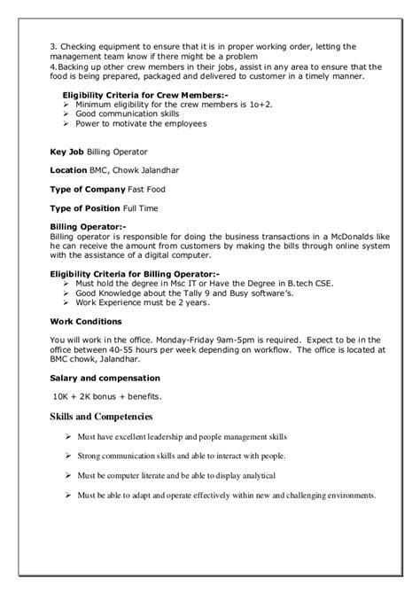 mcdonalds mini project recruitment process t d