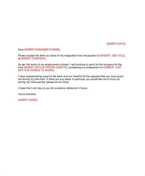 sample manager resignation letter templates