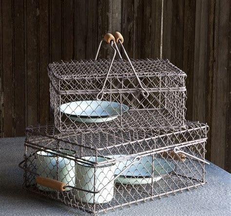wire baskets  lids set   storage bins antiques
