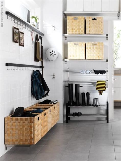 ikea entryway storage mudroom in the garage idea shoe storage on slatted