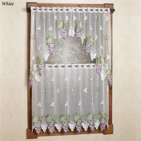 Grape Kitchen Curtains Vineyard Grape Lace Tier Window Treatment