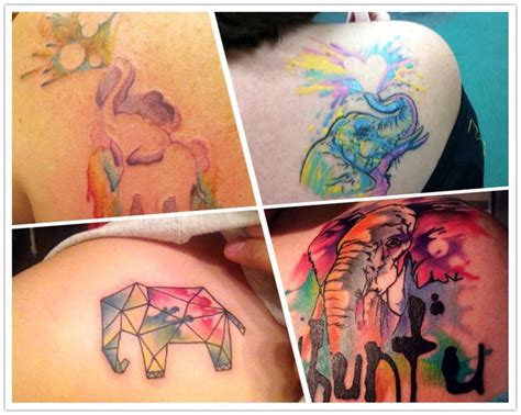 elephant tattoo on shoulder blade upper left 2014 cute elephant watercolor tattoo on