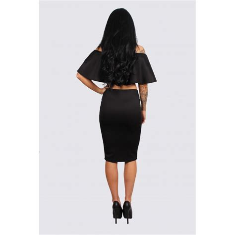 Pencil Skirt Sets black frill crop top midi pencil skirt set