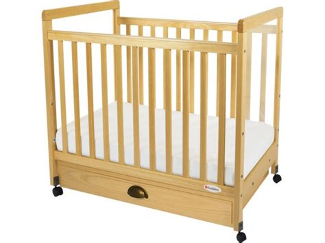 daycare baby cribs safetycraft compact fixed side clearview crib w mattress