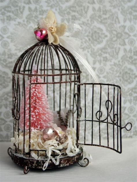 pink mercury glass bird holiday ornament weathered wire