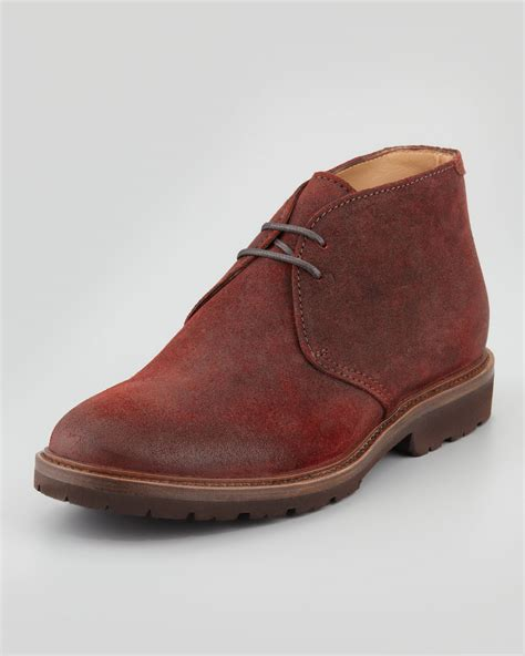 brunello cucinelli mens waxed suede chukka boot in