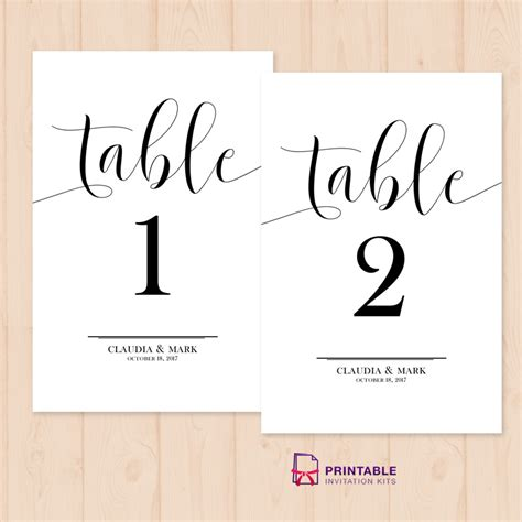 Printable Table Numbers table numbers printable pdf template wedding invitation