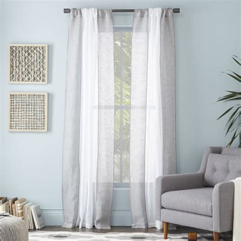 gray white curtains colorblock linen curtain white feather gray west elm