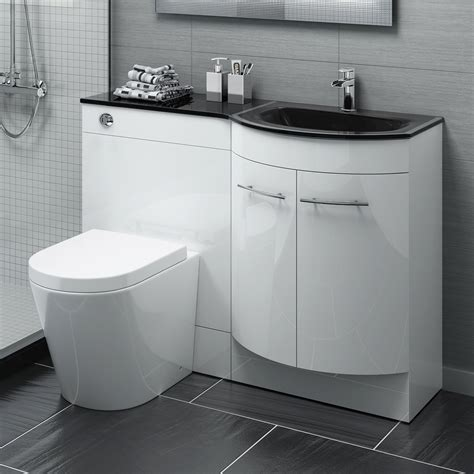 Bathroom Vanity Units With Basin And Toilet 1200mm P Shape Bathroom Vanity Unit Black Glass Basin Sink Btw Toilet Mv1619 Ebay