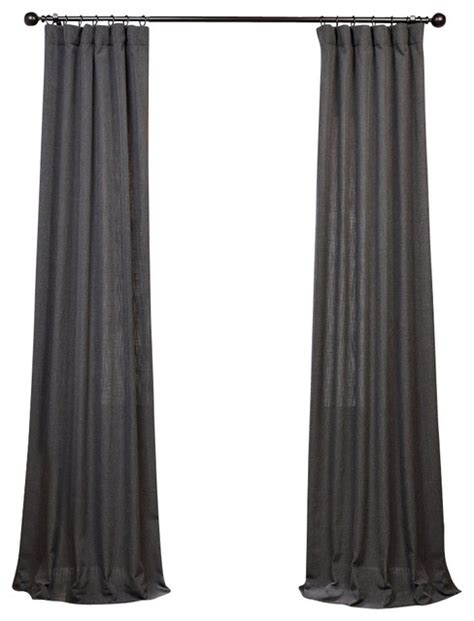 Slate Gray Curtains Slate Grey Heavy Faux Linen Curtain Single Panel Grey 50 X 108 Transitional Curtains By