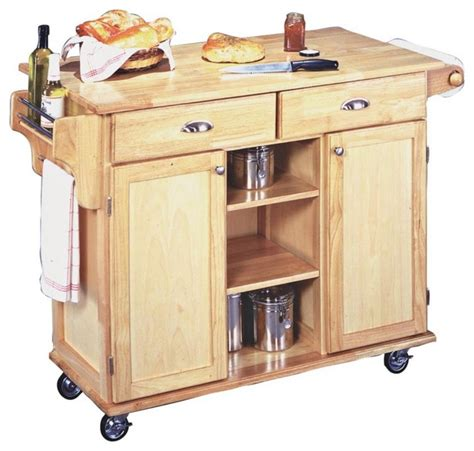 Rolling Kitchen Island Cart | country cottage napa solid wood natural finish rolling